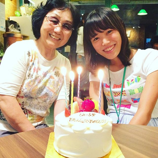 スタッフのとみーと母が、たまたま同じ誕生日という事で一緒におめでとう!!!!!(^▽^)o#奈良 #ウガヤゲストハウス #ugayaguesthouse #とみー #誕生日 #おめでとう